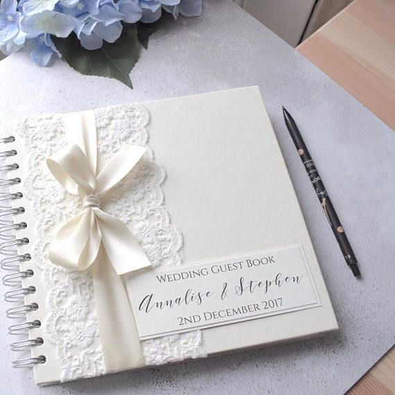 Vintage Lace Personalised Wedding Guest Book Handmade