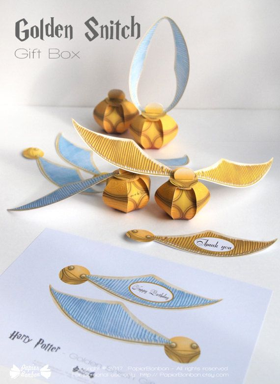 photo regarding Golden Snitch Printable identify Golden snitch reward box printable Harry potter occasion décor