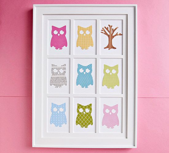 Cute wall art made with die-cut images or large stickers placed in the 4x6 -inch openings in a frame.