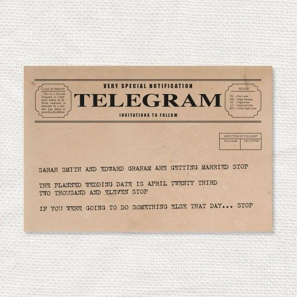 Vintage Telegram Save The Date