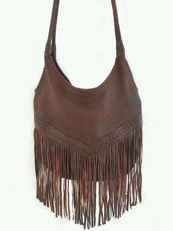 4c8bba819c93 Handmade Leather Hobo Sling Bag With Fringed, Bali Shoulder Bags ...