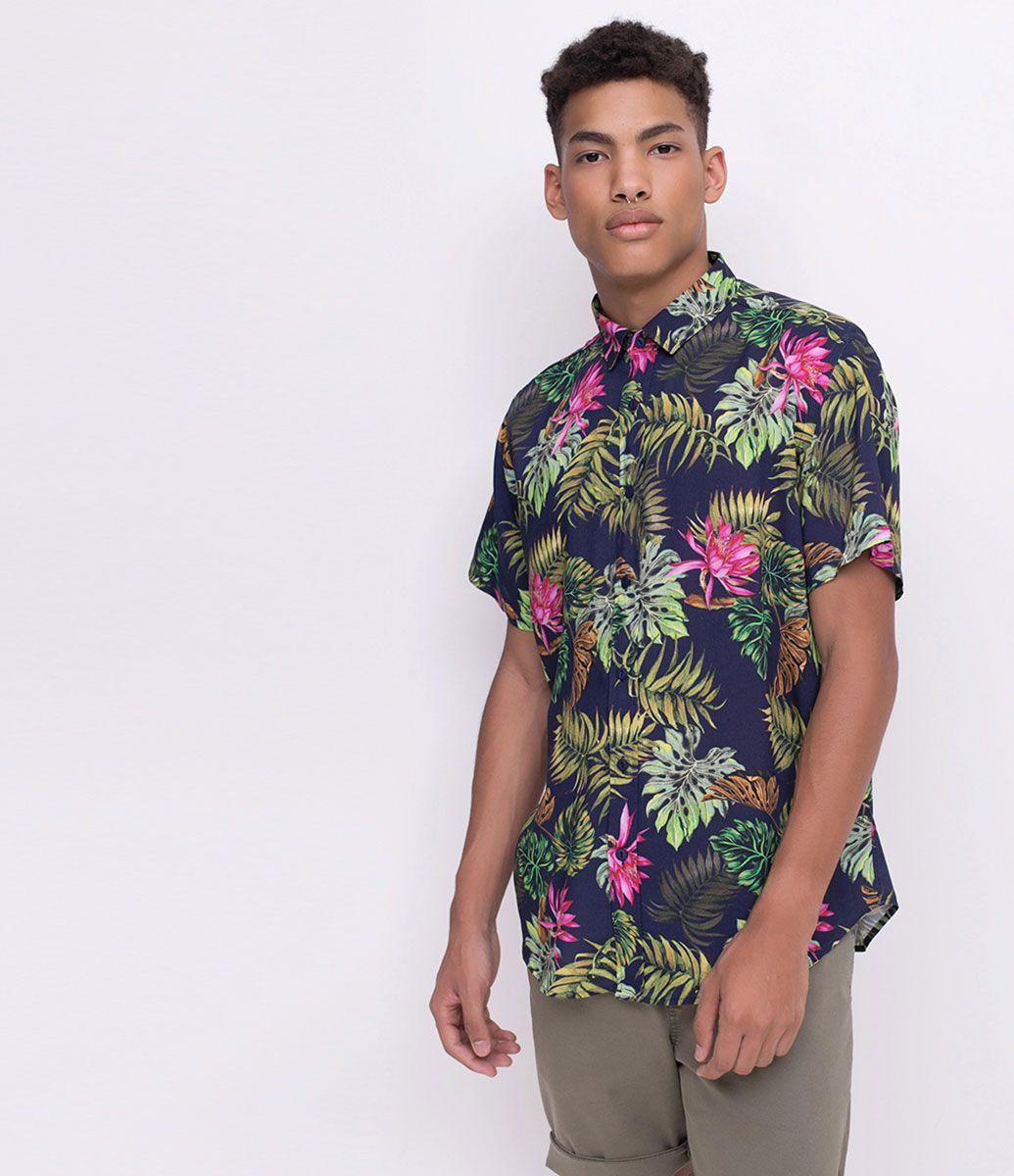 8baadd04a Camisa masculina Manga curta Floral Com botões Marca: Blue Steel  Composição: 100% viscose