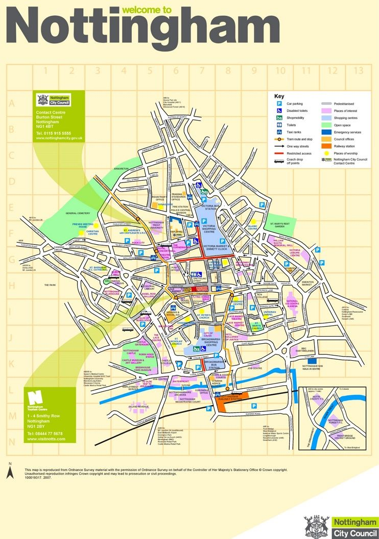 Nottingham tourist map Maps Pinterest Tourist map and City