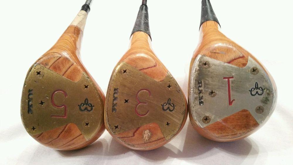 Set Of 3 Ram Wood Golf Clubs 1 3 5 Ramlite Shot Control Lightweight Accuflex Woods Golf Golf Clubs Golf