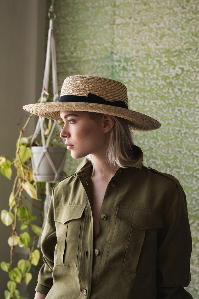 Straw Boater Hat With Classic Black Band Hat For Women Summer Straw Hat Sun Hat Fashion Hat Beach Hat Hat Size S M L Xl Hat Fashion Boater Hat Summer Straw Hat