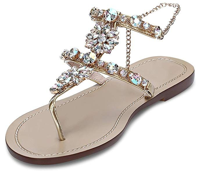 JF Shoes Women's Wedding Sandals Crystal With Rhinestone