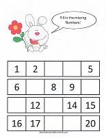 math worksheet : kindergarten missing numbers to 20  tears on line printable  : Kindergarten Missing Number Worksheets