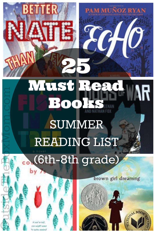 Summer Reading List (6th-8th grade) - Working Mom Blog   Outside the Box Mom-#6th8th #Blog #Box #grade #list #Mom #outside #reading #summer #working