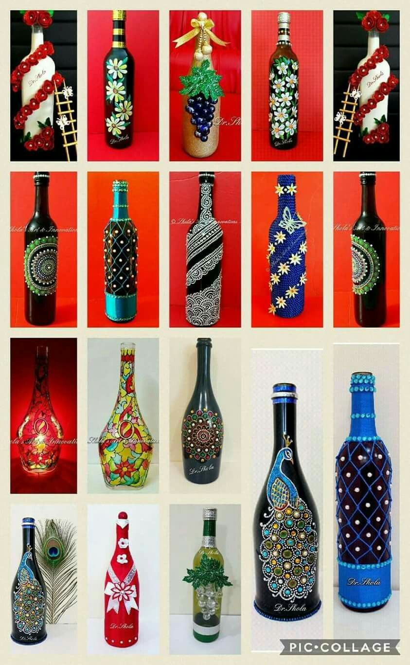 Pin By Kirti Gulwelkar On Frascos Bottle Art Diy Glass Bottle Crafts Bottle Art Projects