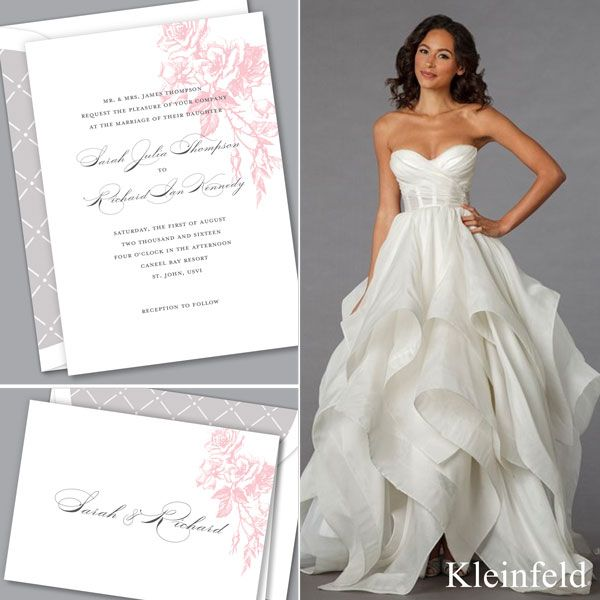 Perfect Pair Pnina Tornai Handkerchief Skirt Wedding Dress Paired With Falling Roses Invitation