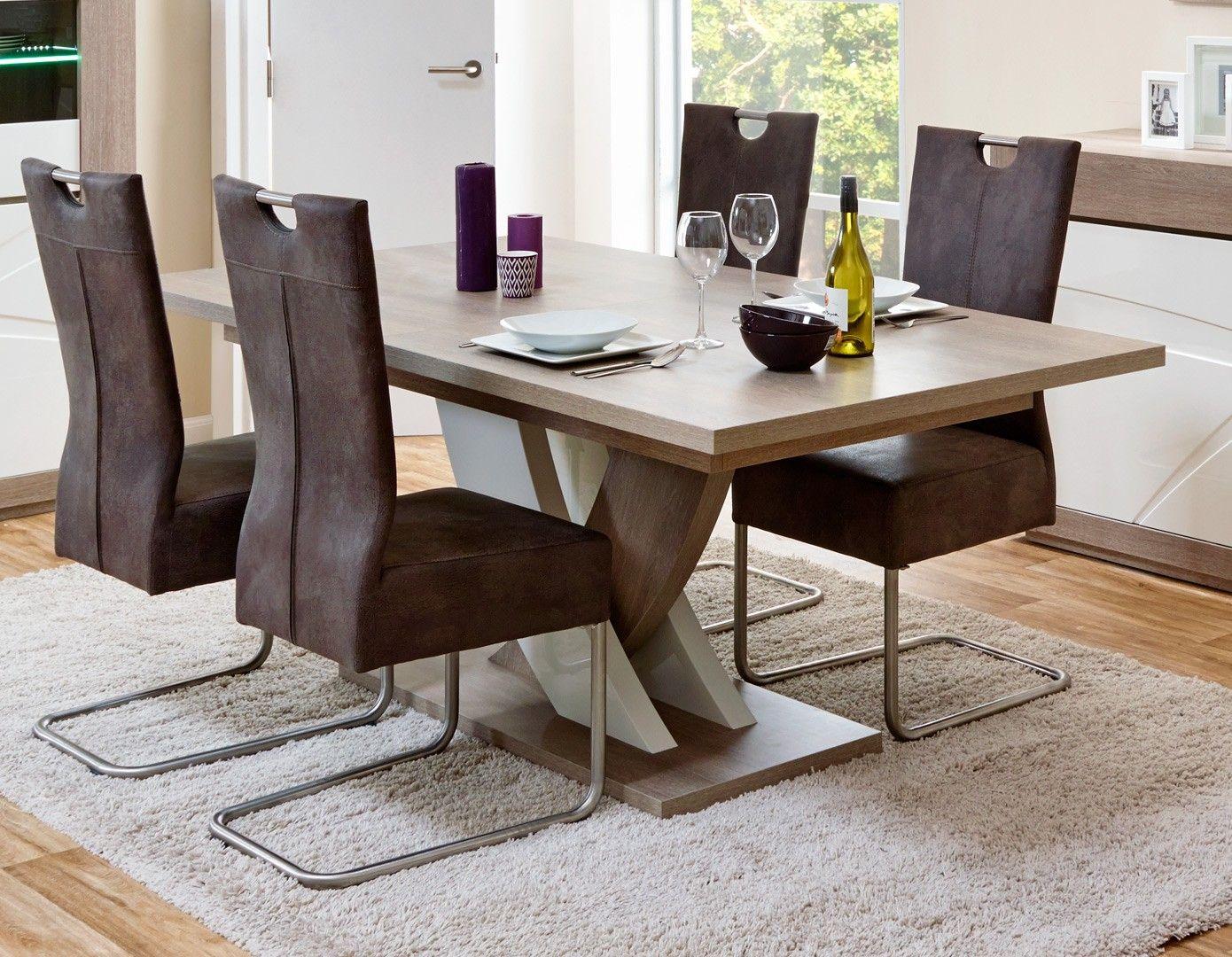 table de salle à manger contemporaine extensible chêne gris/blanc