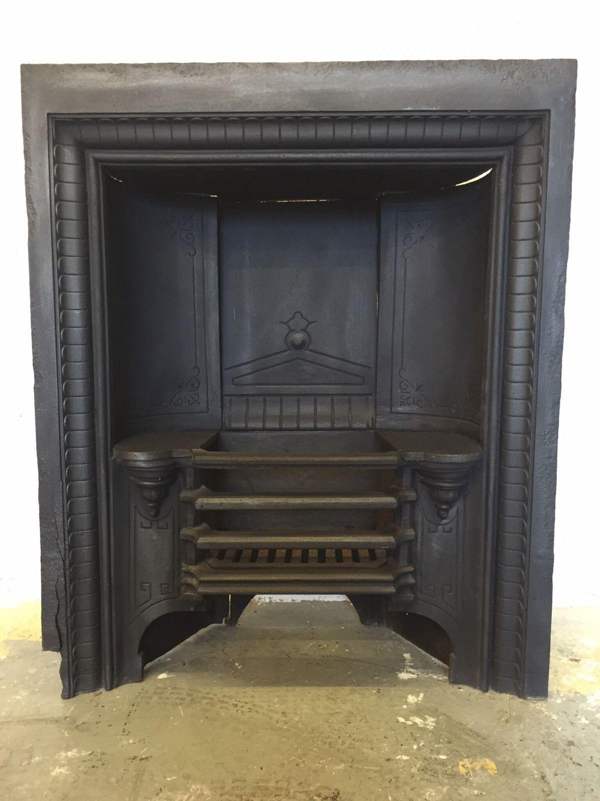 Antique Square Style Victorian Edwardian Hob Grate Cast Iron