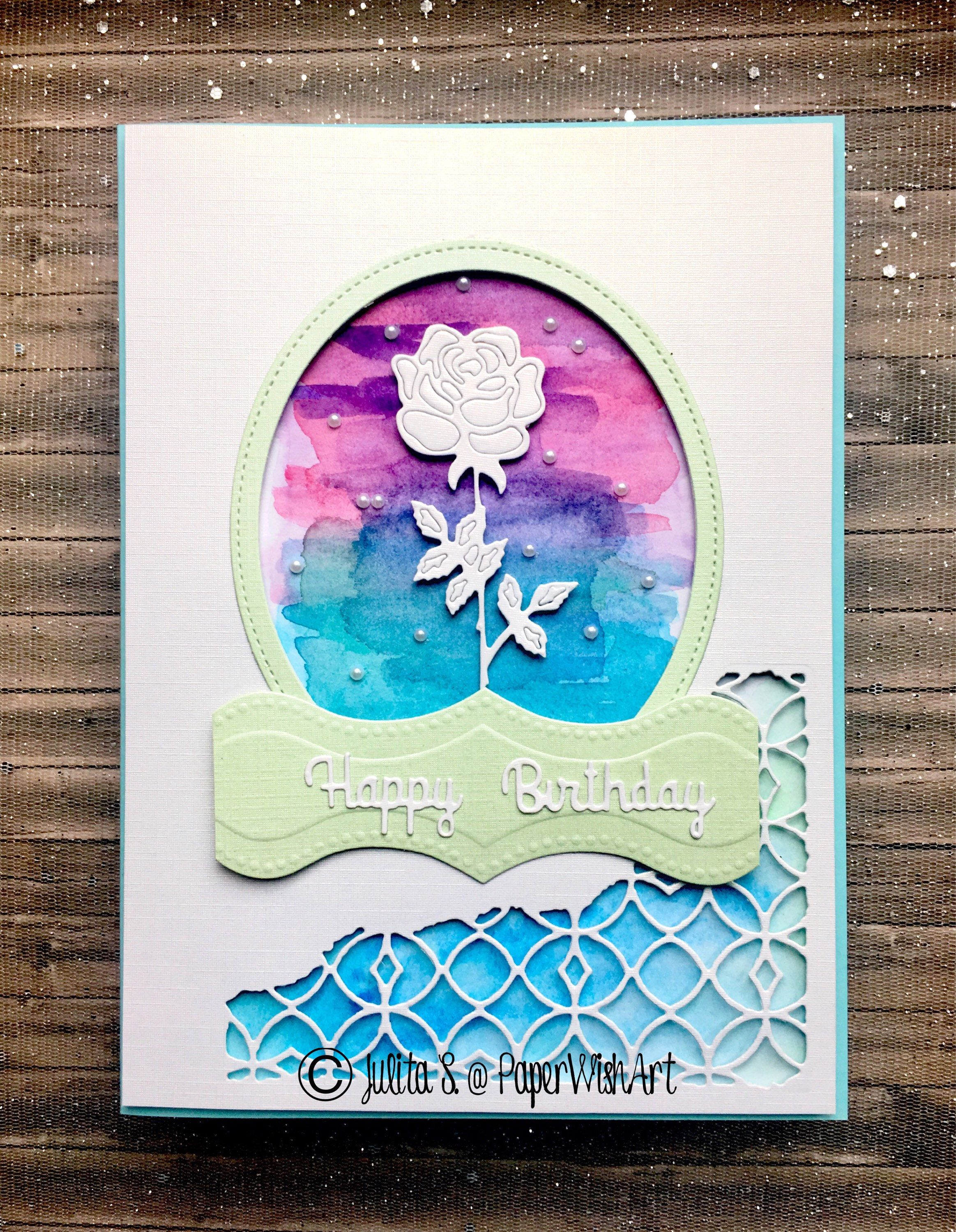 Watercolour and rose aperture handmade birthday card dimensional watercolour and rose aperture handmade birthday card dimensional card for woman 3d card artist greeting card free shipping uk kristyandbryce Images