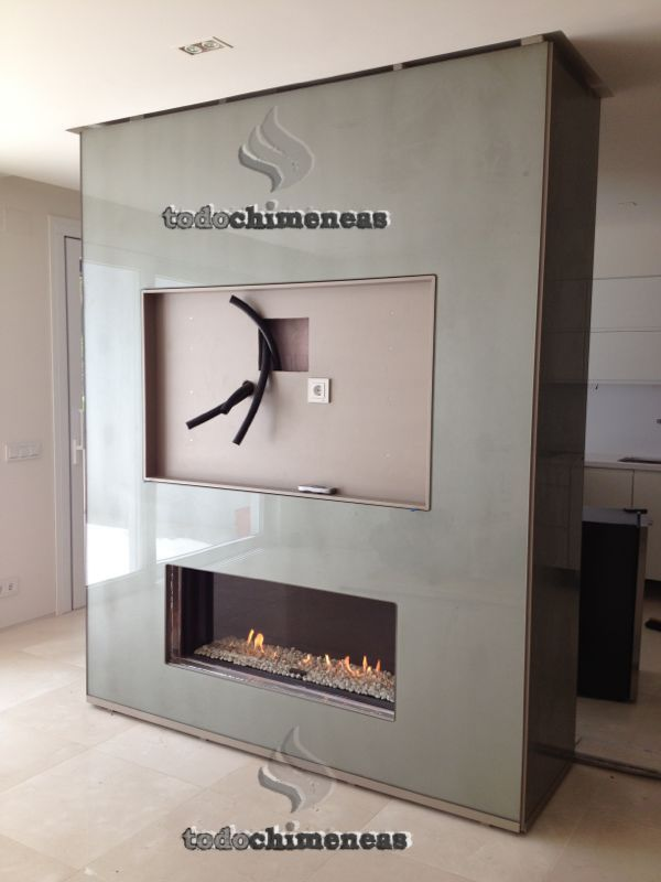 Revestir chimenea televisi n buscar con google idees - Muebles de salon con chimenea integrada ...
