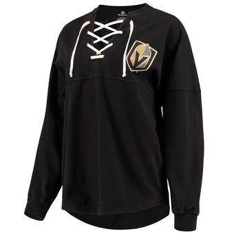 326392079 Fanatics Branded Vegas Golden Knights Women s Black Lace Up Long Sleeve  Spirit T-Shirt