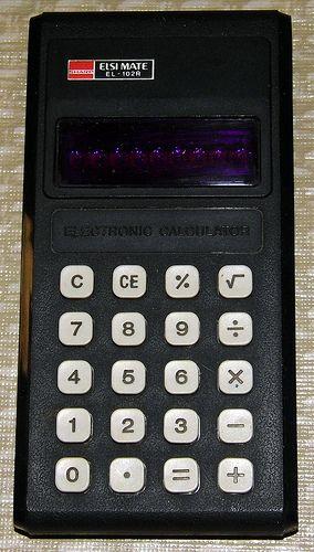 Vintage Sharp Elsi Mate Electronic Pocket Calculator, Model EL-102R, LED Display, Takes 9v Battery, Made In Japan, Circa 1975.