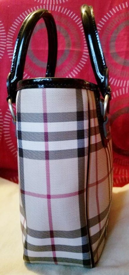 9f5045d43af7 100% AUTHENTIC BURBERRY CHECK MINI TOTE HAND BAG EXCELLENT USED CONDITION   249.99