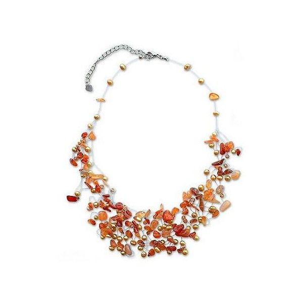 Novica Quartz and carnelian beaded necklace, Orange Peonies - Handmade Beaded Carnelian and Quartz Necklace