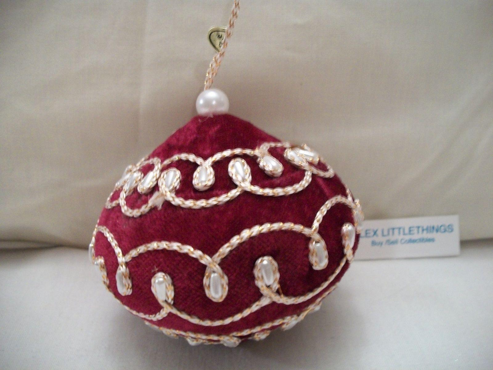 maroon velvet & pearl Christmas ornament