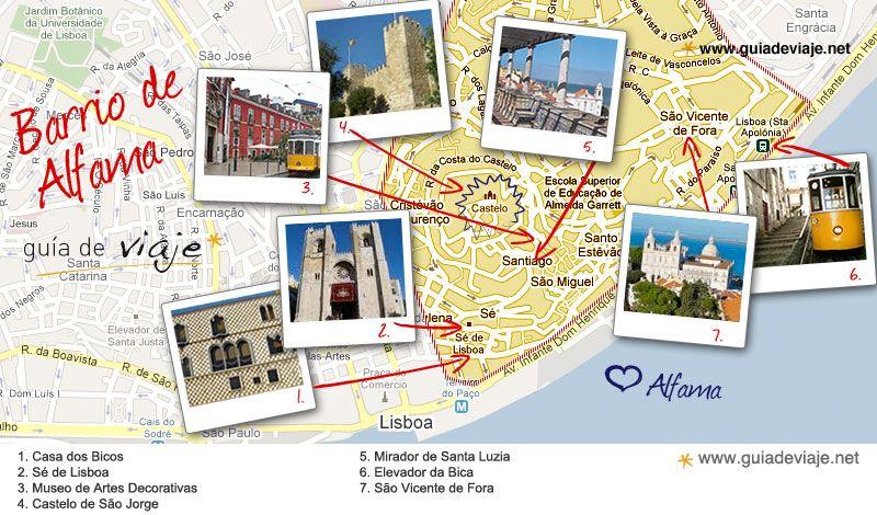 mapa de alfama lisboa plano barrio alfama, lisboa | Portugal = Mapas de Portugal  mapa de alfama lisboa