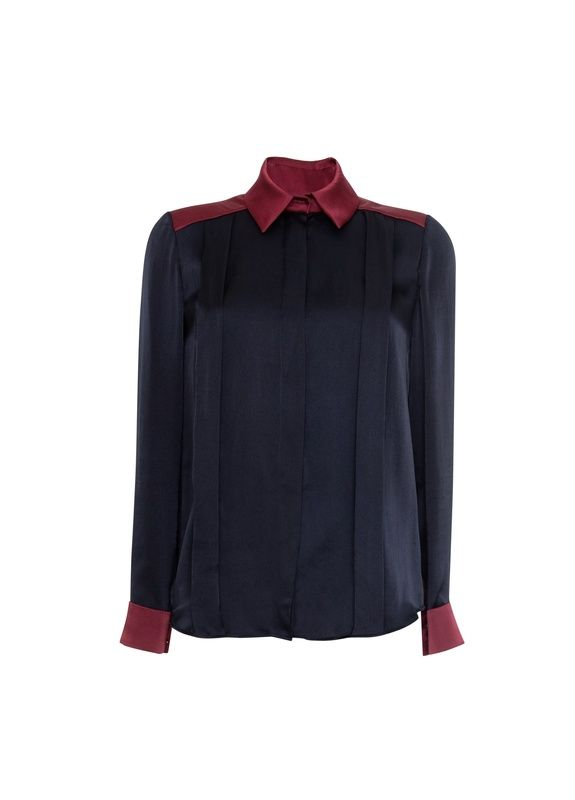 Jena Contrast Silk Tuck Front Shirt