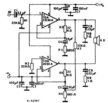 35 watt power amplifier electronic project using TDA2030