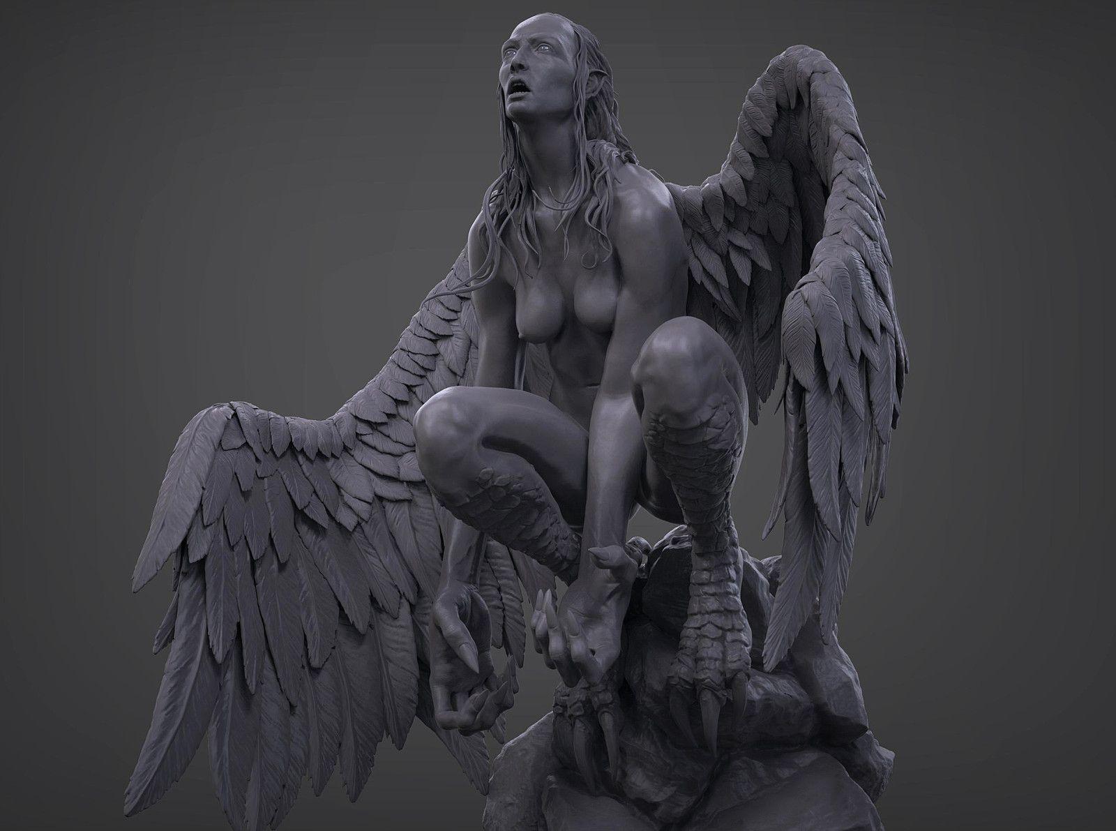 Harpy, Yinan Kuang on ArtStation at https://www.artstation.com/artwork/rzmxa
