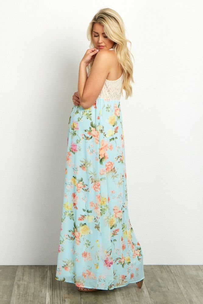 b1d43db503 Light-Blue-Crochet-Top-Floral-Chiffon-Bottom-Maternity-Maxi-Dress ...