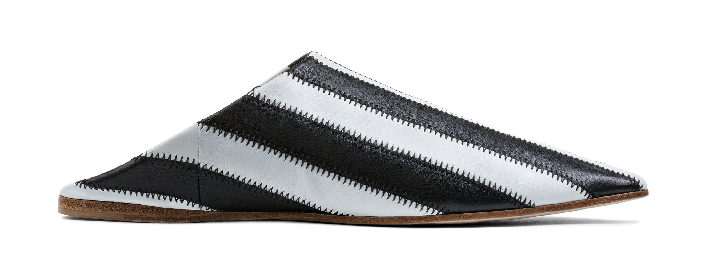 Acne Studios Amina patch white/black Striped patchwork babouche