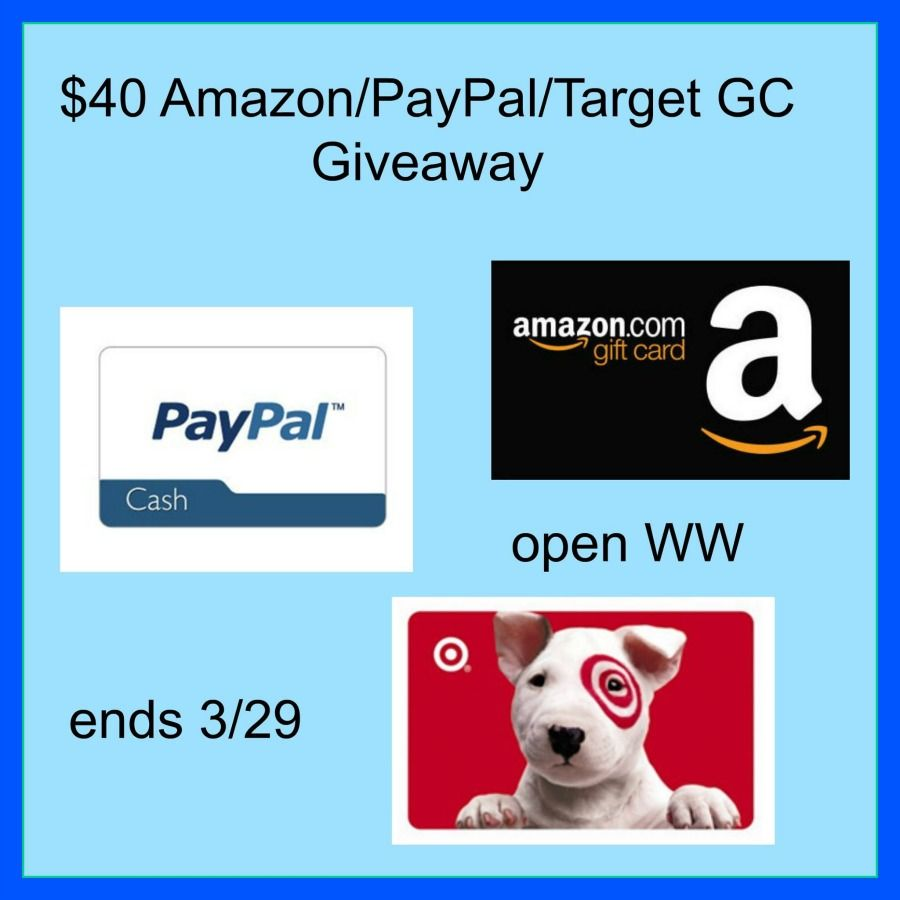 40 amazon paypal or target gift card giveaway target