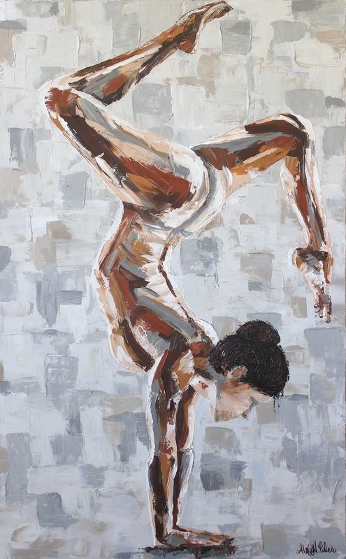 Yoga Painting Custom Art By Alexis Stag Leg Handstand Acrylic Impasto Palette Knife Work