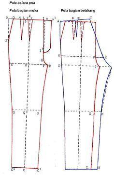 Cara Mengukur Dan Membuat Pola Celana Pria How To Measure And Create Patterns Of Men S Pants Celana Pria Celana Pola Celana