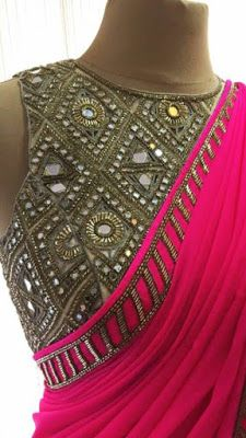 d95ef0fb05475d Elegant Pink Georgette Saree with Handwork Mirror blouse