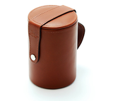 English Chestnut Leather Cup Case with Cups