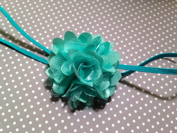 Mint and Teal Flower Headband, Newborn Headband, Baby Girl Headband, Baby Flower Headband, Toddler Headband