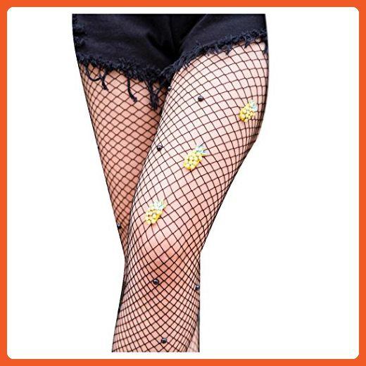 Women Long Stockings Socks Inkach Trendy Girls Pineapple Net Fishnet Body Stockings Pattern Pantyhose Tights Stockings