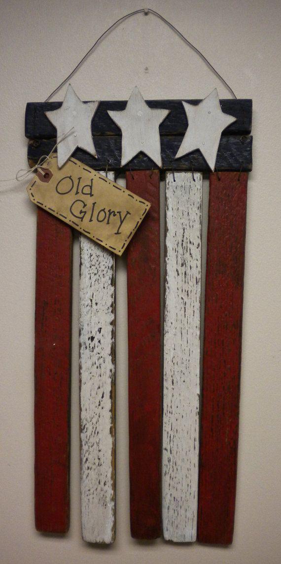 Lath Flag American Flag Patriotic Decoration by PearcesCraftShop
