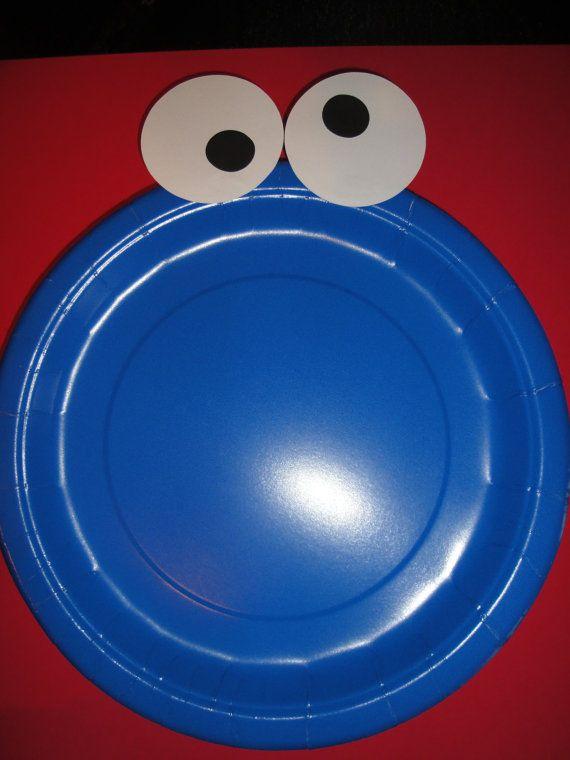 Custom Cookie Monster Plates set of 12 by kandu001 on Etsy $12.00 - Tape eyes & Custom Cookie Monster Plates set of 12 by kandu001 on Etsy $12.00 ...
