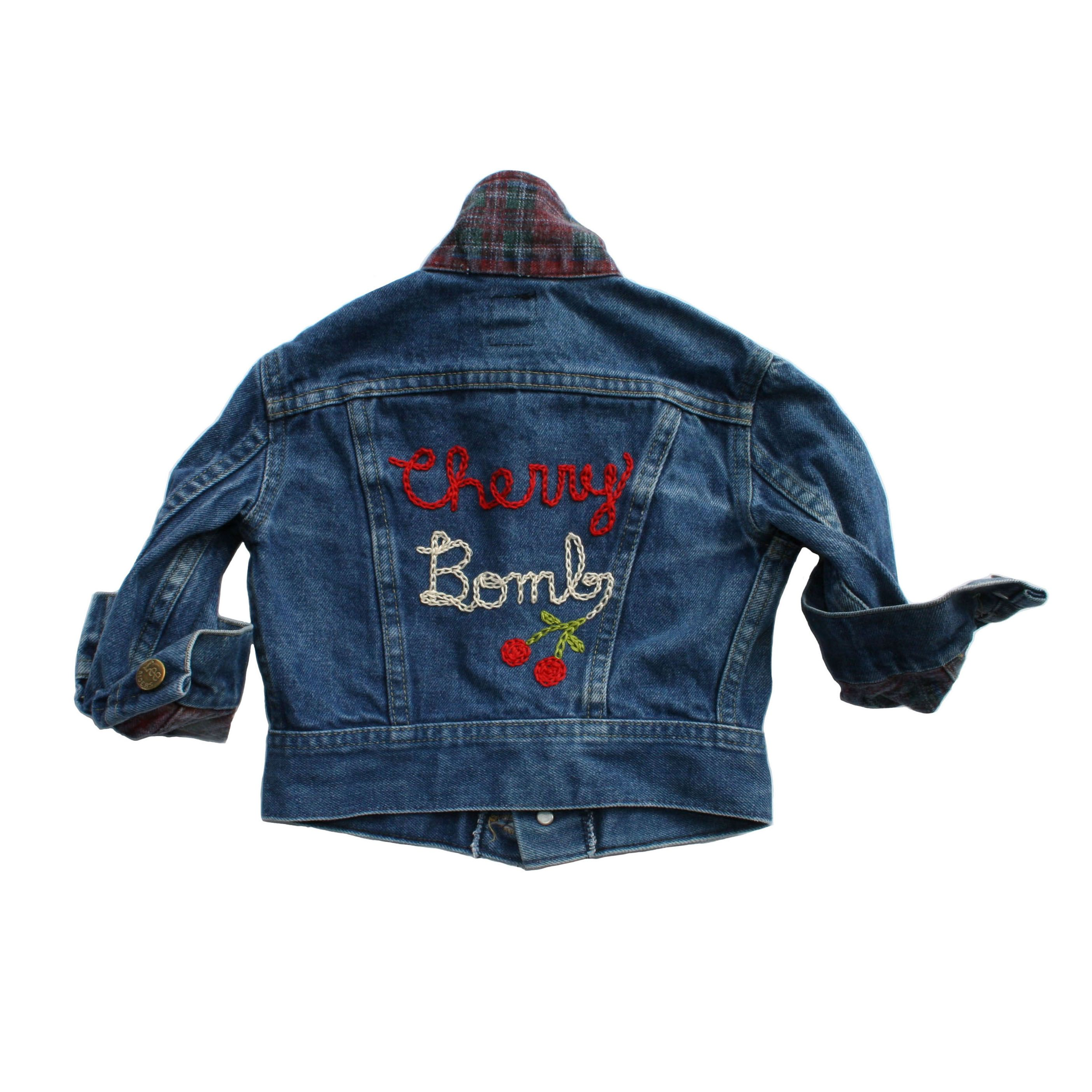 cb7368d7 SiD NYC : vintage Levis denim jacket with CHERRY BOMB embroidery on back.  Contrast red plaid inside denim jacket #sidnyc #kidsfashion #kidsclothing # vintage ...