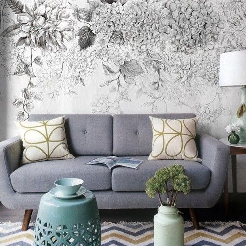 Monochrome floral wall mural