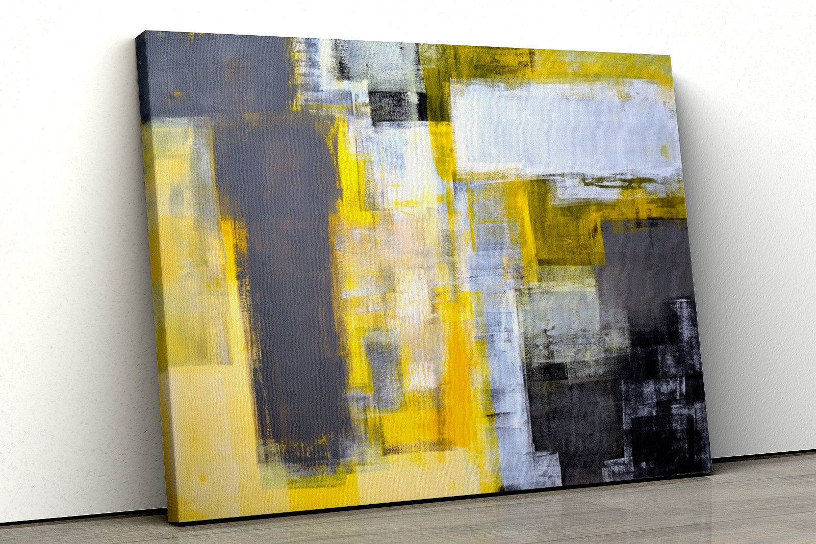 Yellow grey office abstract painting Framed bedroom Canvas Print Wall Art pp147