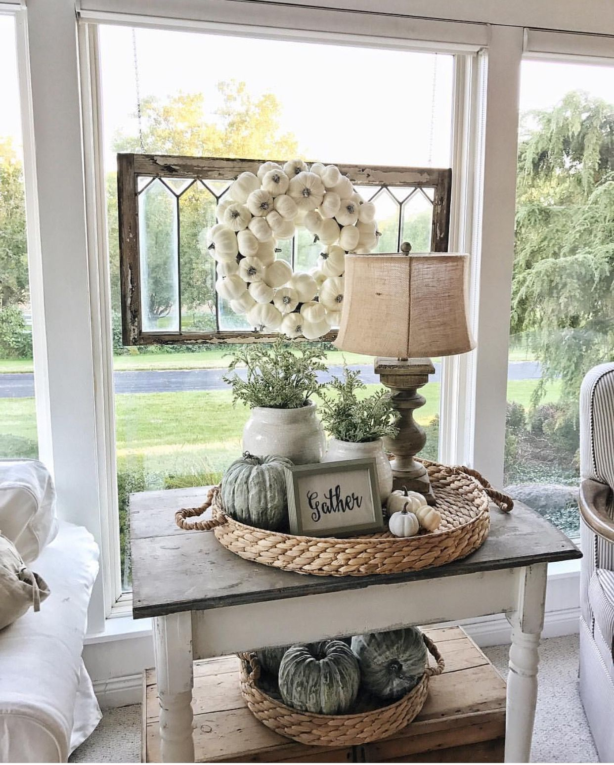 Cute Basket Arrangement For Side Table Decorating