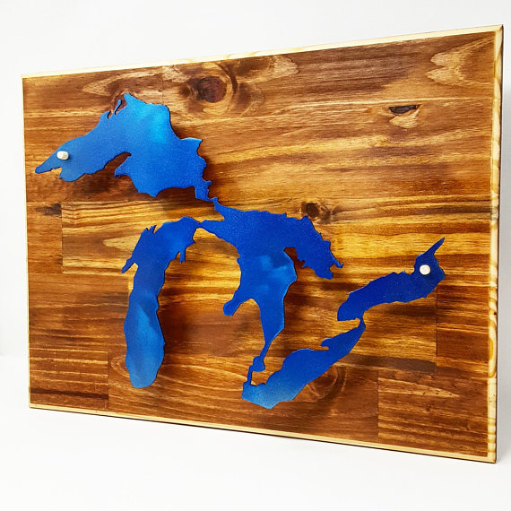 A Truly One Of A Kind Piece Of Wall Art That Displays A Blue Stainless Steel Reflective Great Lakes Suspended From The T 3d Wall Decor Lake Art Michigan Gifts