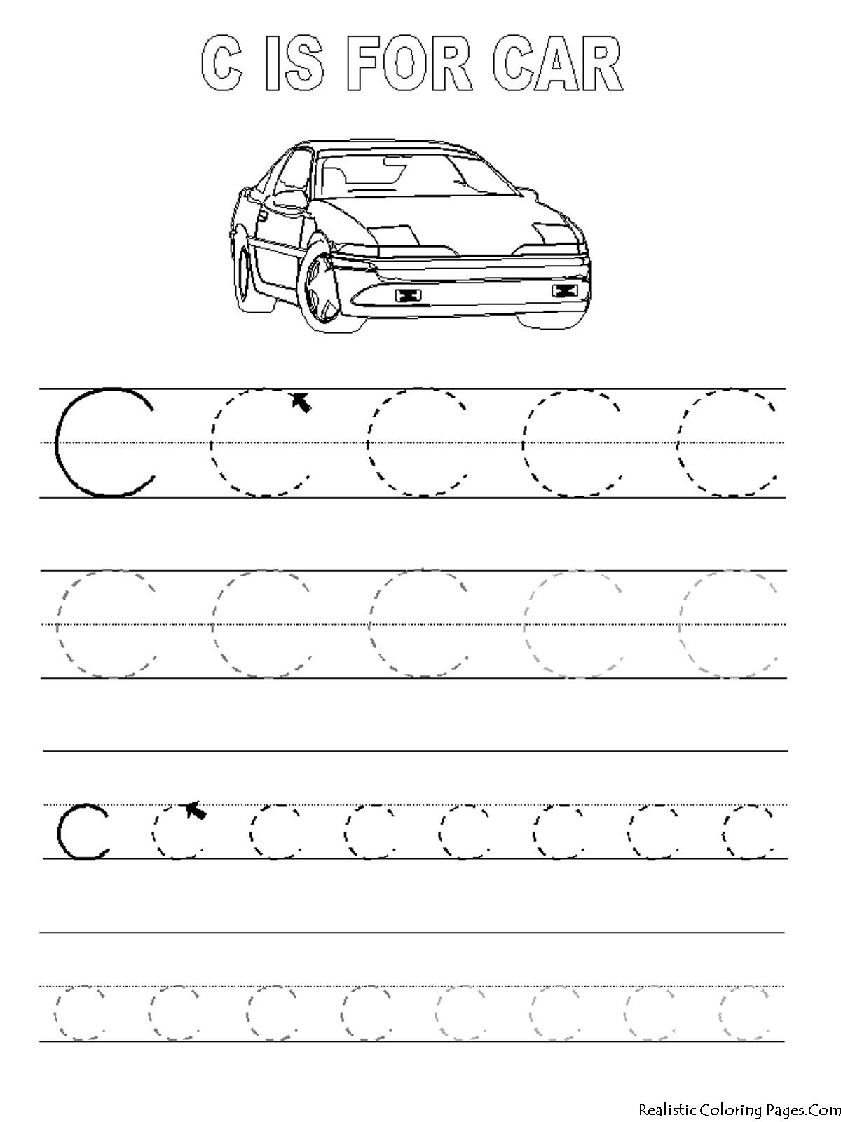 alphabet tracer pages c car - C Coloring Sheet