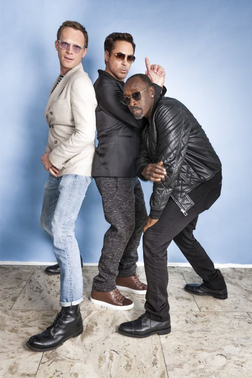 Paul Bettany, Robert Downey Jr and Don Cheadle