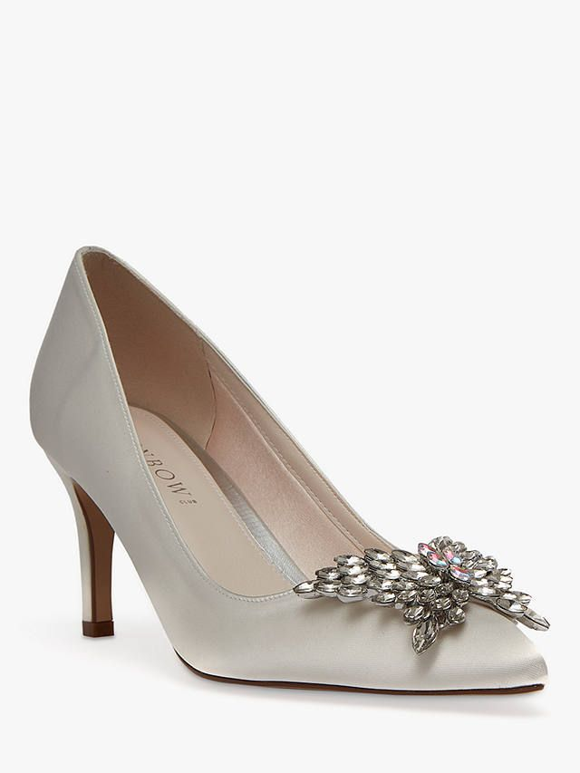 ebf333e3d3321 Rainbow Club Amara Stiletto Heel Court Shoes, Ivory Satin at John Lewis &  Partners
