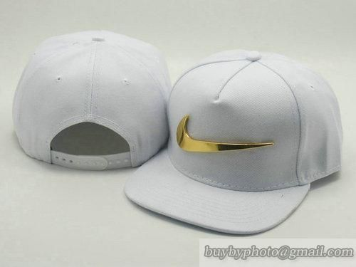 Nike Adjustable Snapback Hats Flat Bill Hats All White Golden Logo 133