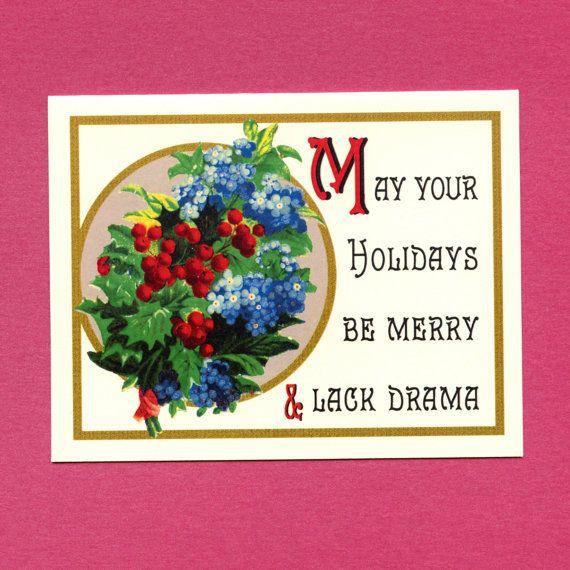 DRAMA FREE HOLIDAYS Funny Christmas Card Funny by seasandpeas