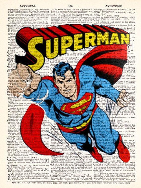 Retro Vintage Superman Flying Dictionary Print by TheRekindledPage, $6.98 | Disney cartoons, Superman, Super hero dad