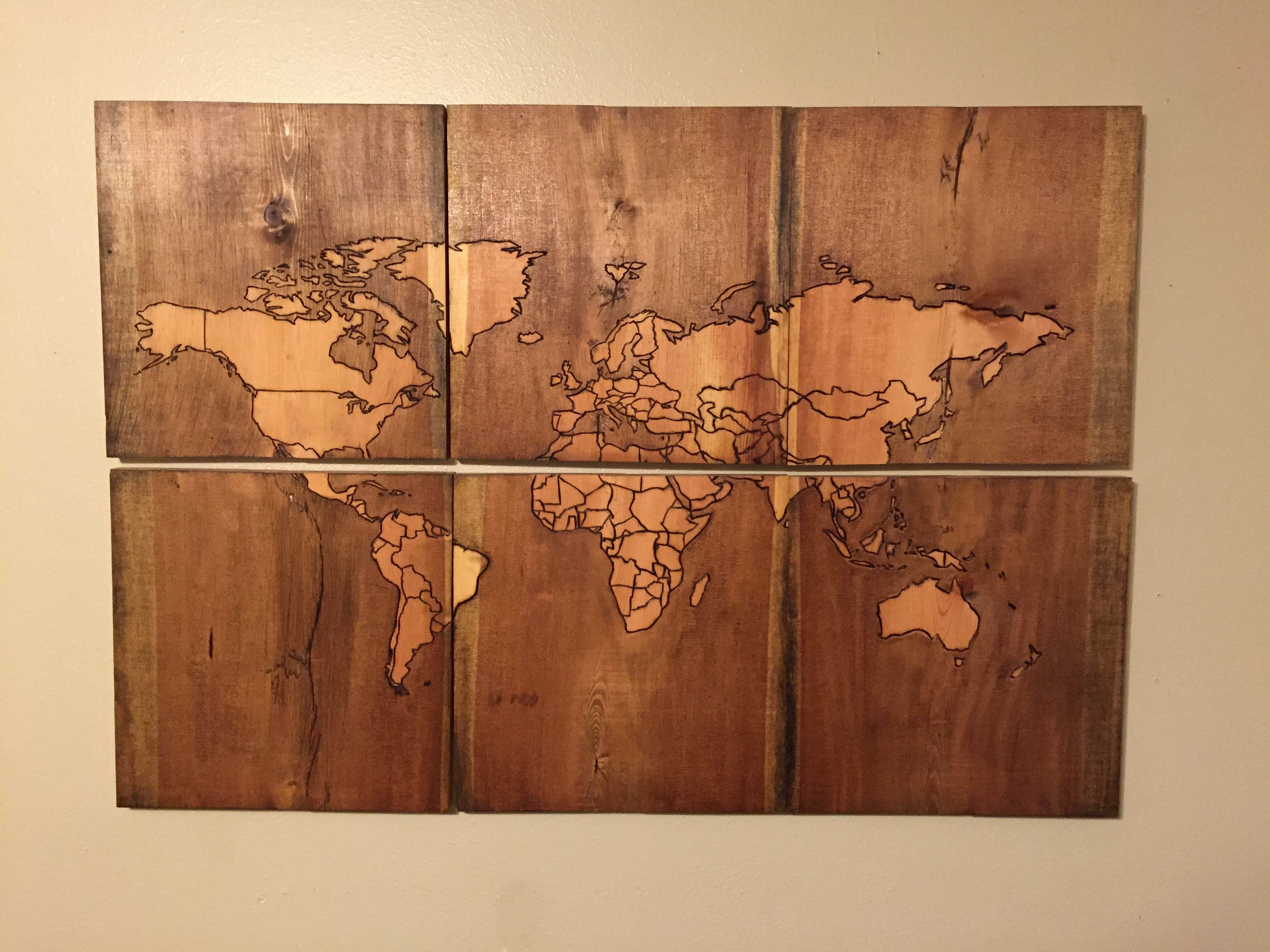 Beautiful map of the world burned into scrap wood diy wood woods diy wood burned map gumiabroncs Gallery